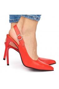Sandale elegante din piele naturala rosie cu toc subtire 9039