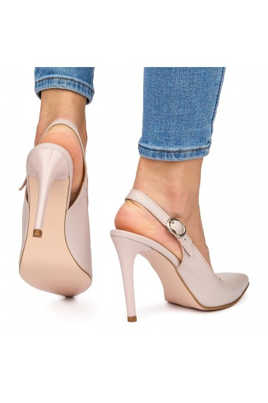 Sandale elegante din piele naturala crem cu toc subtire 9040