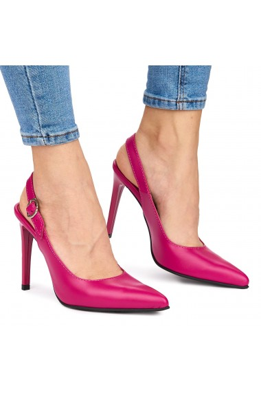 Sandale elegante din piele naturala roz cu toc subtire 9041