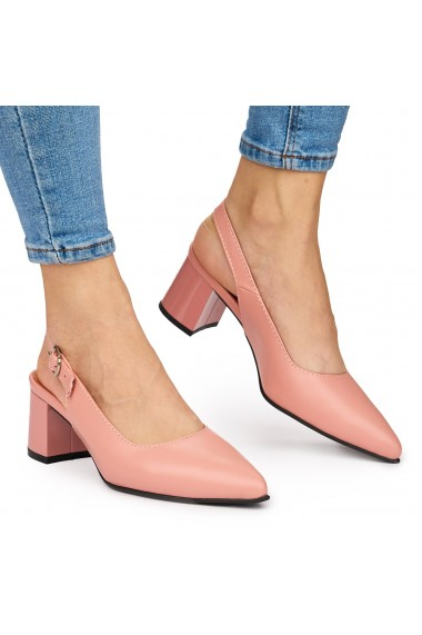 Sandale elegante din piele naturala roz cu toc gros 9042