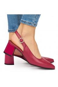 Sandale elegante din piele naturala rosie cu toc gros 9046