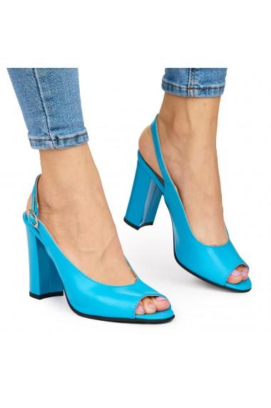 Sandale elegante din piele naturala albastra cu toc gros 9047