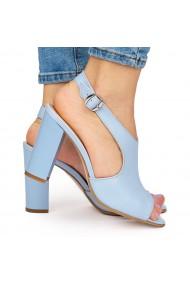 Sandale elegante din piele naturala albastra cu toc gros 9049