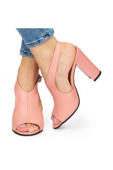 Sandale elegante din piele naturala roz cu toc gros 9048