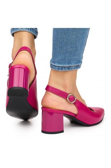 Sandale elegante din piele naturala rosie cu toc gros 9050