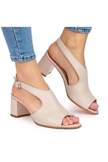 Sandale elegante din piele naturala crem cu toc gros 9051