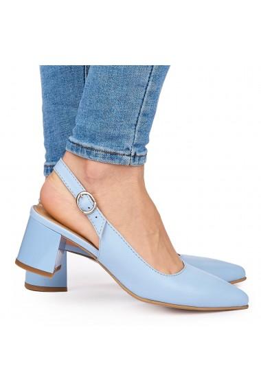 Sandale elegante din piele naturala albastra cu toc gros 9052