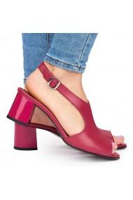 Sandale elegante din piele naturala rosie cu toc gros 9053