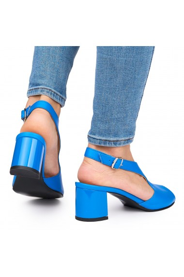 Sandale elegante din piele naturala albastra cu toc gros 9054