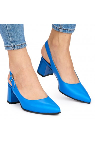 Sandale elegante din piele naturala albastra cu toc gros 9055