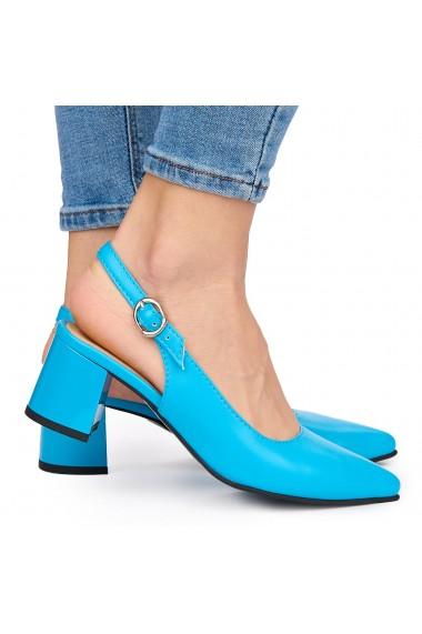 Sandale elegante din piele naturala albastra cu toc gros 9056