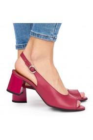 Sandale elegante din piele naturala rosie cu toc gros 9057