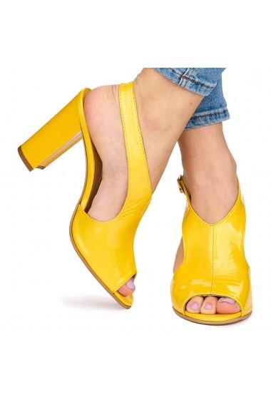 Sandale elegante din piele naturala galbena cu toc gros 9058
