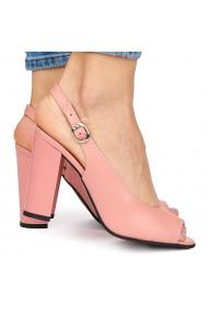 Sandale elegante din piele naturala roz cu toc gros 9064