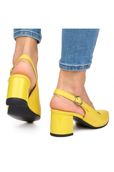 Sandale elegante din piele naturala galbena cu toc gros 9065