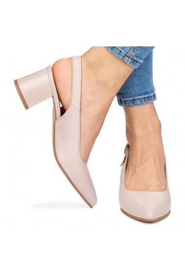 Sandale elegante din piele naturala roz cu toc gros 9067