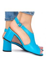 Sandale elegante din piele naturala albastra cu toc gros 9071