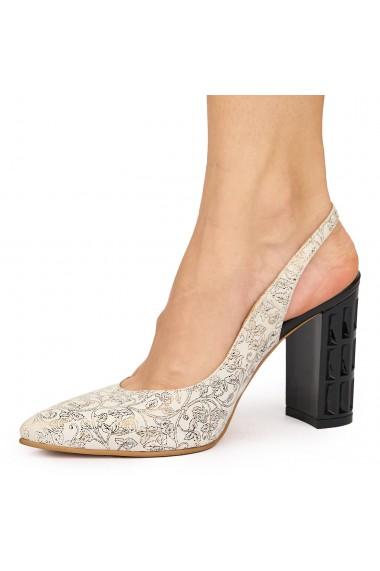Sandale elegante din piele naturala bej 9105