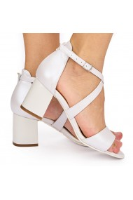 Sandale dama elegante din piele naturala alba 5819