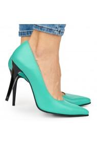 Pantofi din piele naturala verde cu toc ascutit 9076