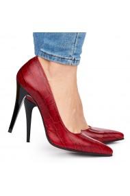 Pantofi din piele naturala rosie cu toc ascutit 9079