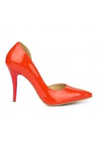 Pantofi din piele naturala rosie cu toc ascutit 9084