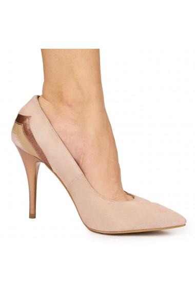Pantofi din piele naturala bej cu toc ascutit 9090