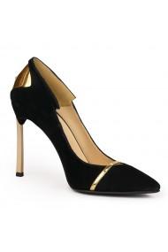 Pantofi din piele naturala neagra cu toc ascutit 9091