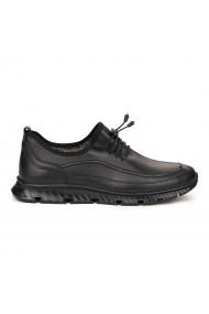 Pantofi sport casual din piele naturala neagra 7062