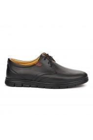 Pantofi sport casual din piele naturala neagra 7064