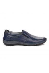 Pantofi sport casual din piele naturala bleumarin 7066