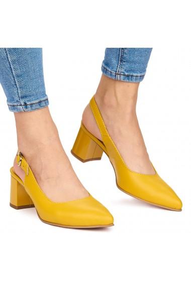 Sandale elegante din piele naturala galbena cu toc gros 9062
