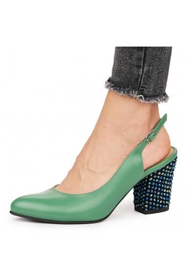 Sandale elegante din piele naturala verde 5828
