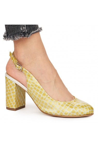 Sandale elegante din piele naturala galbena 5829