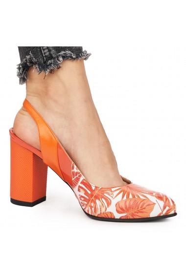 Sandale elegante din piele naturala portocalie 5830
