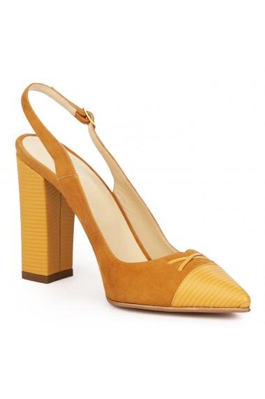 Sandale elegante din piele naturala portocalie 5831