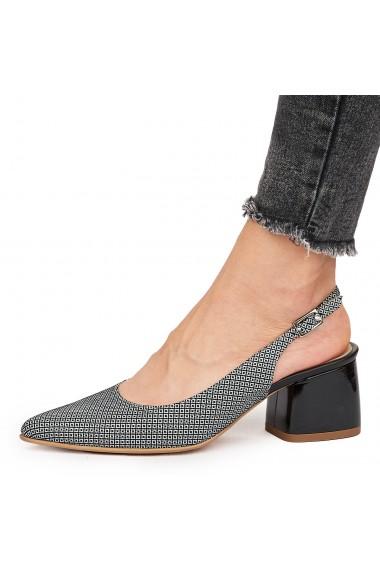 Sandale elegante din piele naturala gri 5836
