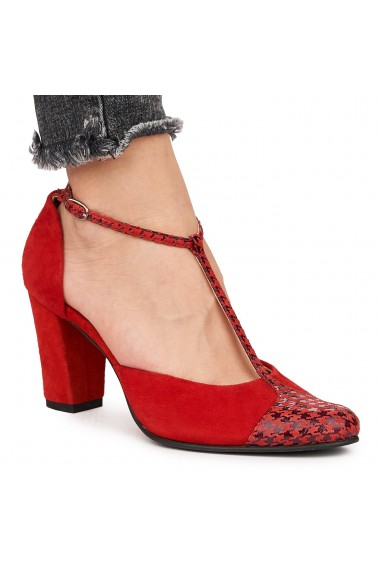Sandale elegante din piele naturala rosie 5837