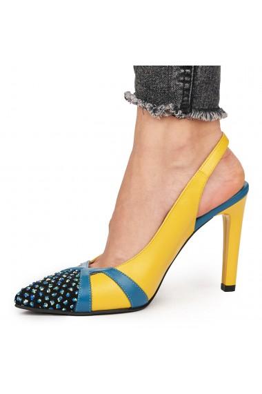 Sandale elegante din piele naturala galbena cu toc subtire 9170
