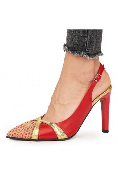 Sandale elegante din piele naturala rosie cu toc subtire 9171