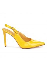 Sandale elegante din piele naturala galbena cu toc subtire 9175