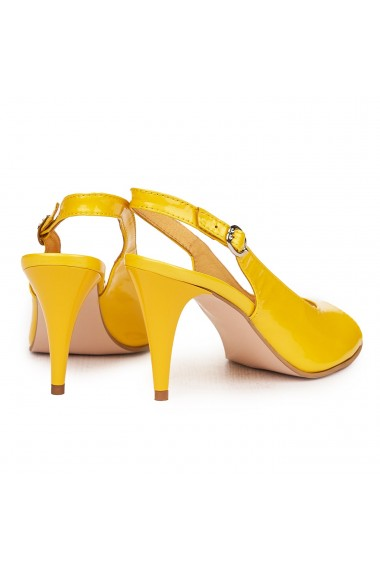 Sandale elegante din piele naturala galbena cu toc subtire 9176