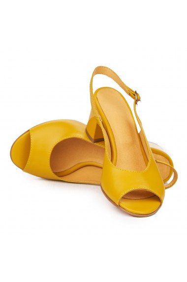 Sandale elegante din piele naturala galbena cu toc gros 9177