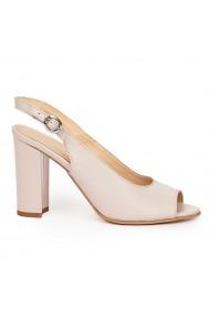 Sandale elegante din piele naturala bej cu toc gros 9179