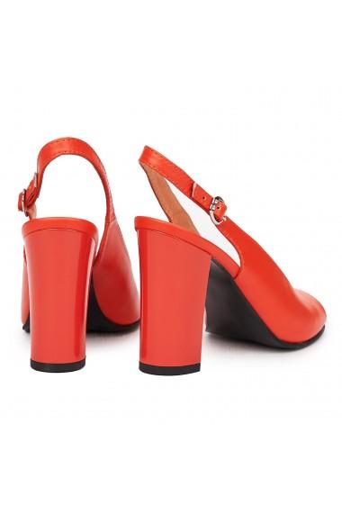Sandale elegante din piele naturala rosie cu toc gros 9180