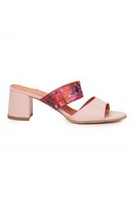 Sandale elegante din piele naturala roz cu toc gros 9181