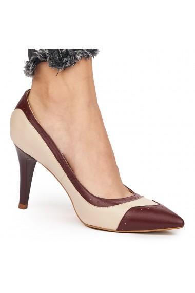 Pantofi din piele naturala crem toc ascutit 9109
