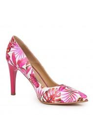 Pantofi din piele naturala roz toc ascutit 9118