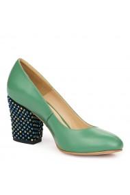Pantofi dama din piele naturala verde 9127