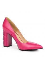Pantofi dama din piele naturala roz 9140